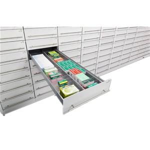 Rx dispensary pullout tray shelf design