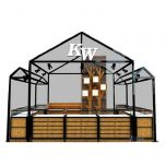 Black Metal Bar Frame Roof Sunglass Kiosk Concept For Indoor Mall