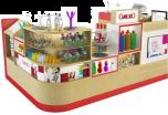 Customized Gift Kiosk Fashion Mall Display Counter Retail Present Shelf For Sale