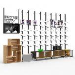 Retail Shoe Display Racks, Metal Shoe Display Pod Stand with Advertising Light Box