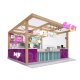 Attractive wooden roll ice cream booth ice cream kiosk design used in mall for sale