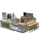 Multi-functional Customized Juice Beverage Kiosk Modern Mall Smoothies Stand Design