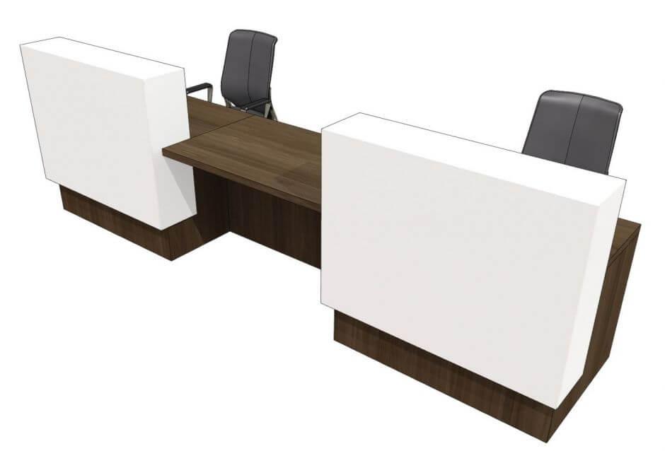 white wood 2 person reception desk