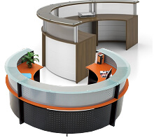 C-shaped office receptionist desk