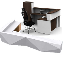 L shaped front counter for office