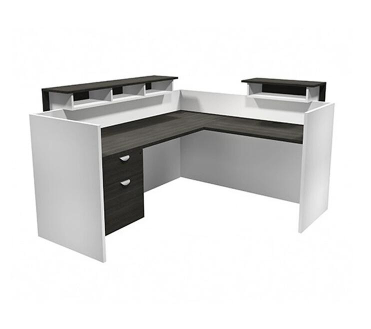 L-shaped reception counter