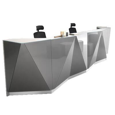 cool geometric reception desk