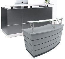 dark grey receptionist tables