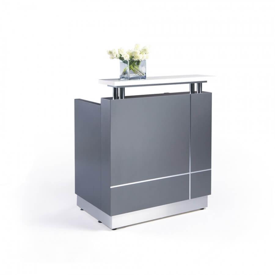 grey reception desk