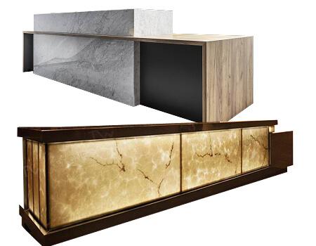 Led light hotel reception counter