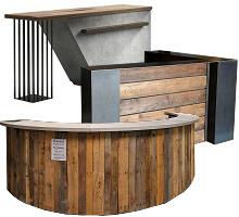 rustic industrial reception tables