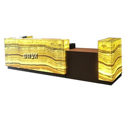 backlit onyx reception desk
