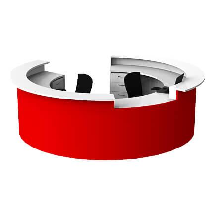 circled red reception desk