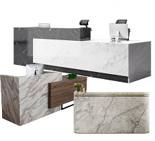 black & white marble stone reception counters