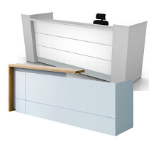 white reception table for office