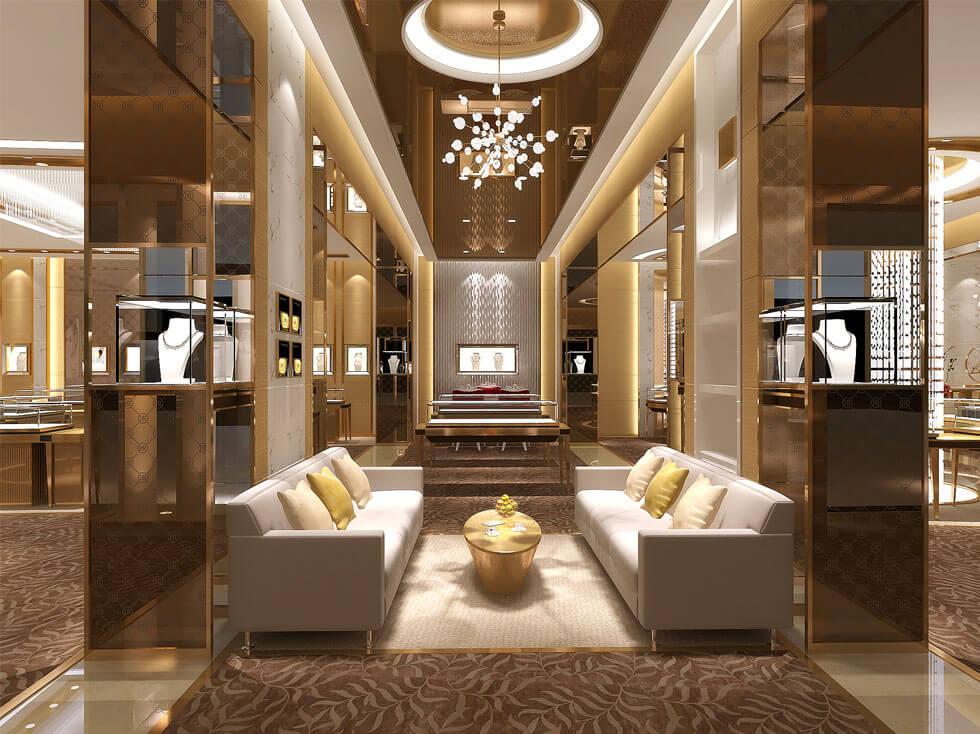 Luxury jewelry store counters