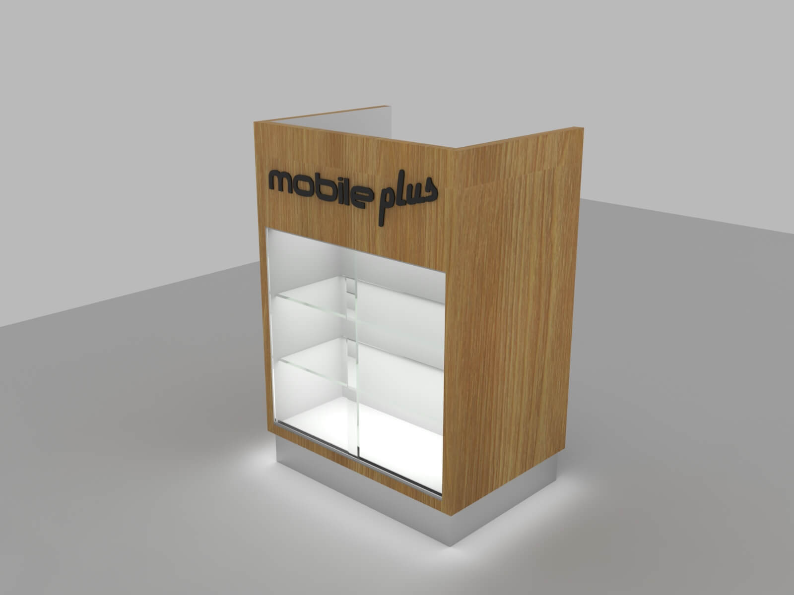 retail cash counter with display showcase