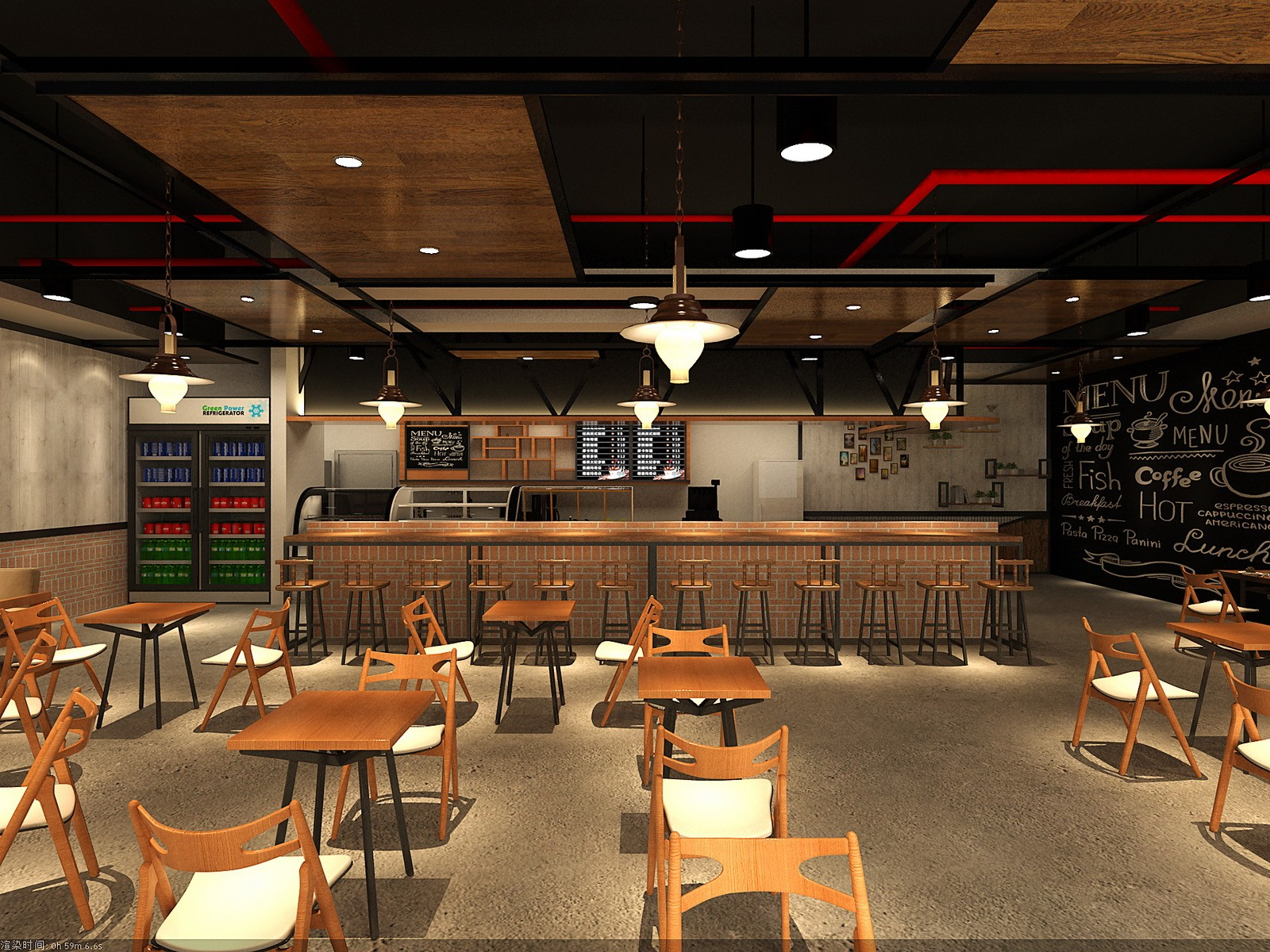 Coffee shop design, counter, display showcase