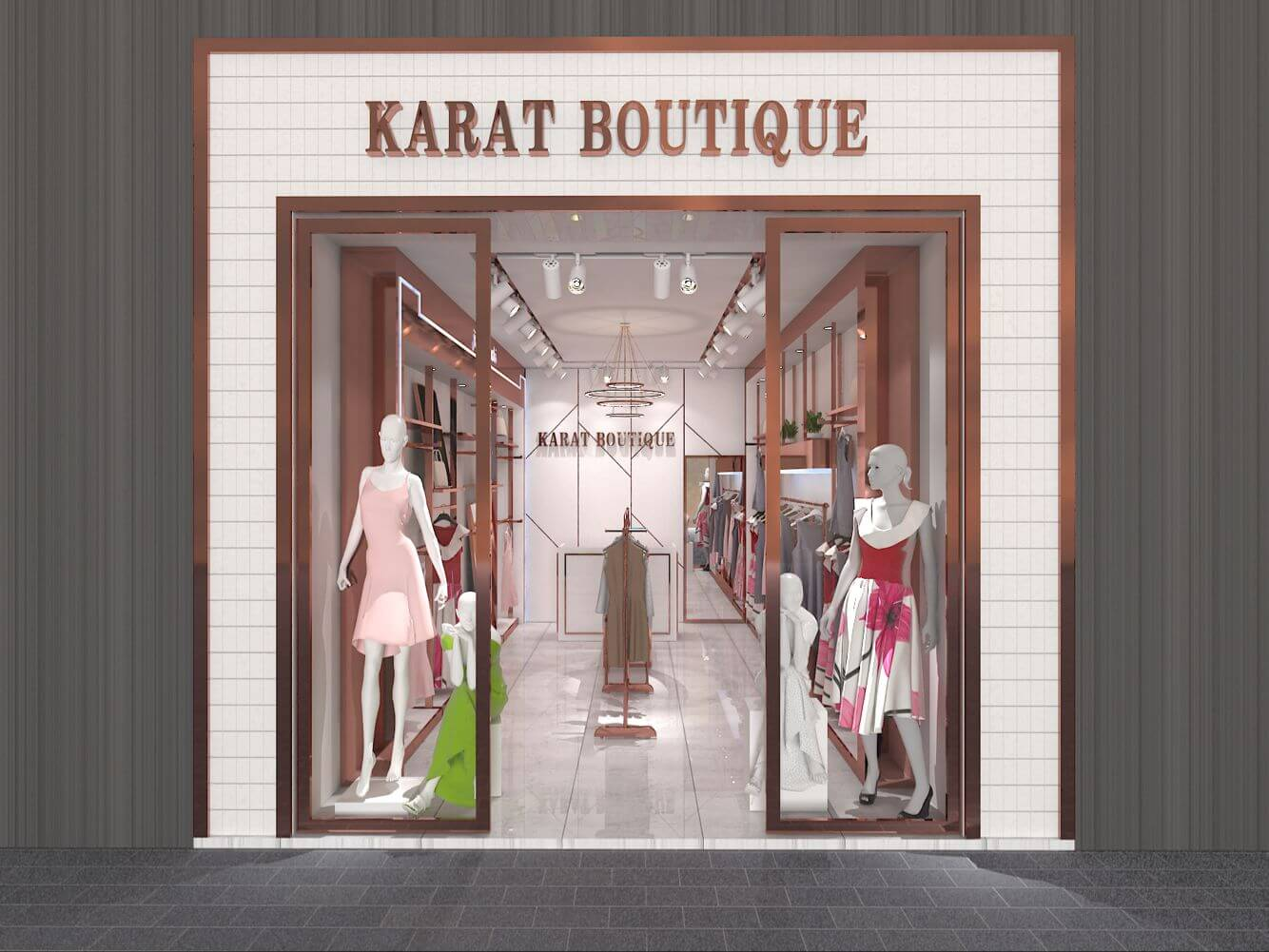 High-end brand clothes store 3d interior design clothing display racks
