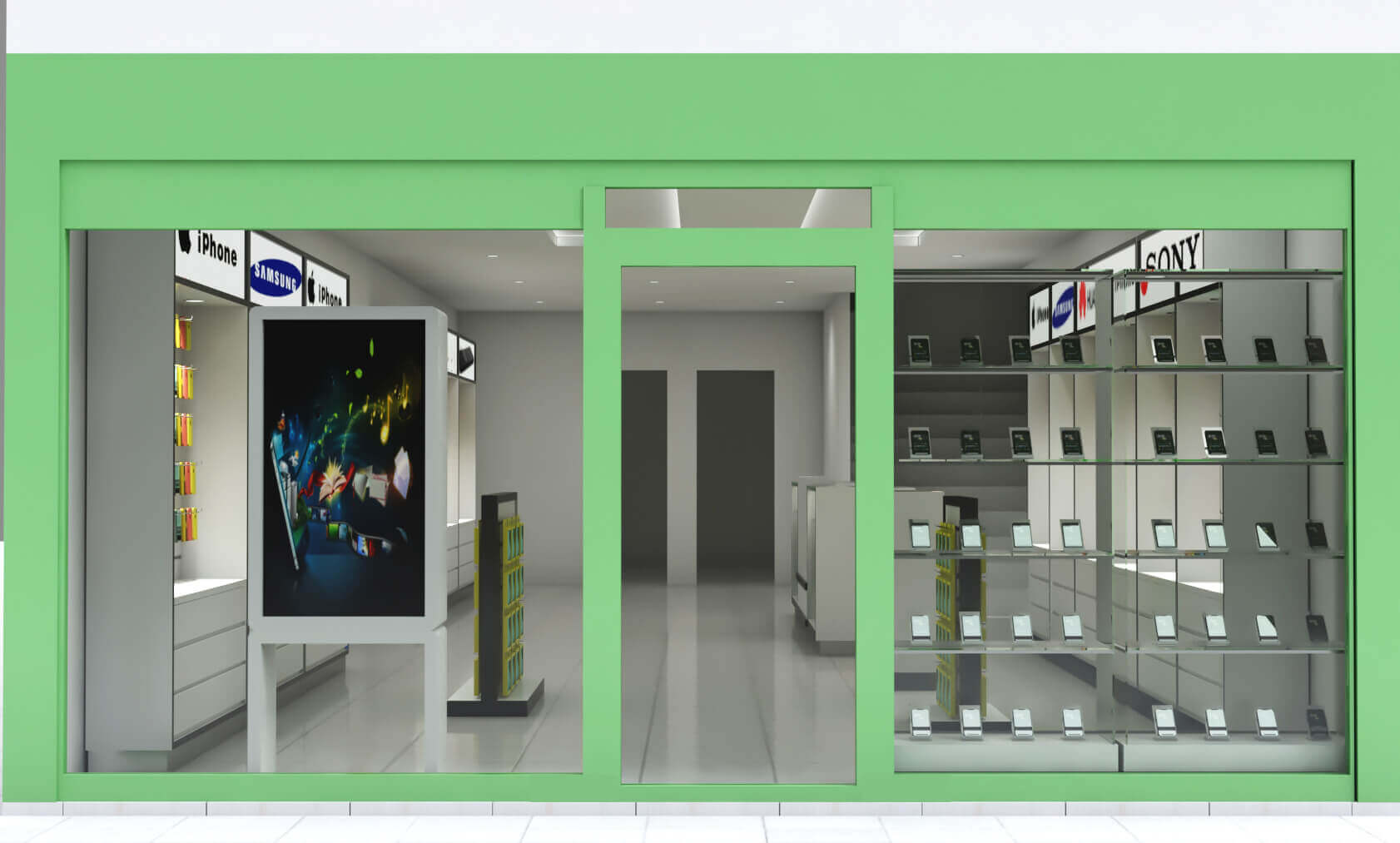 Mobile phone accessories store design| a whole set display showcase for phone store