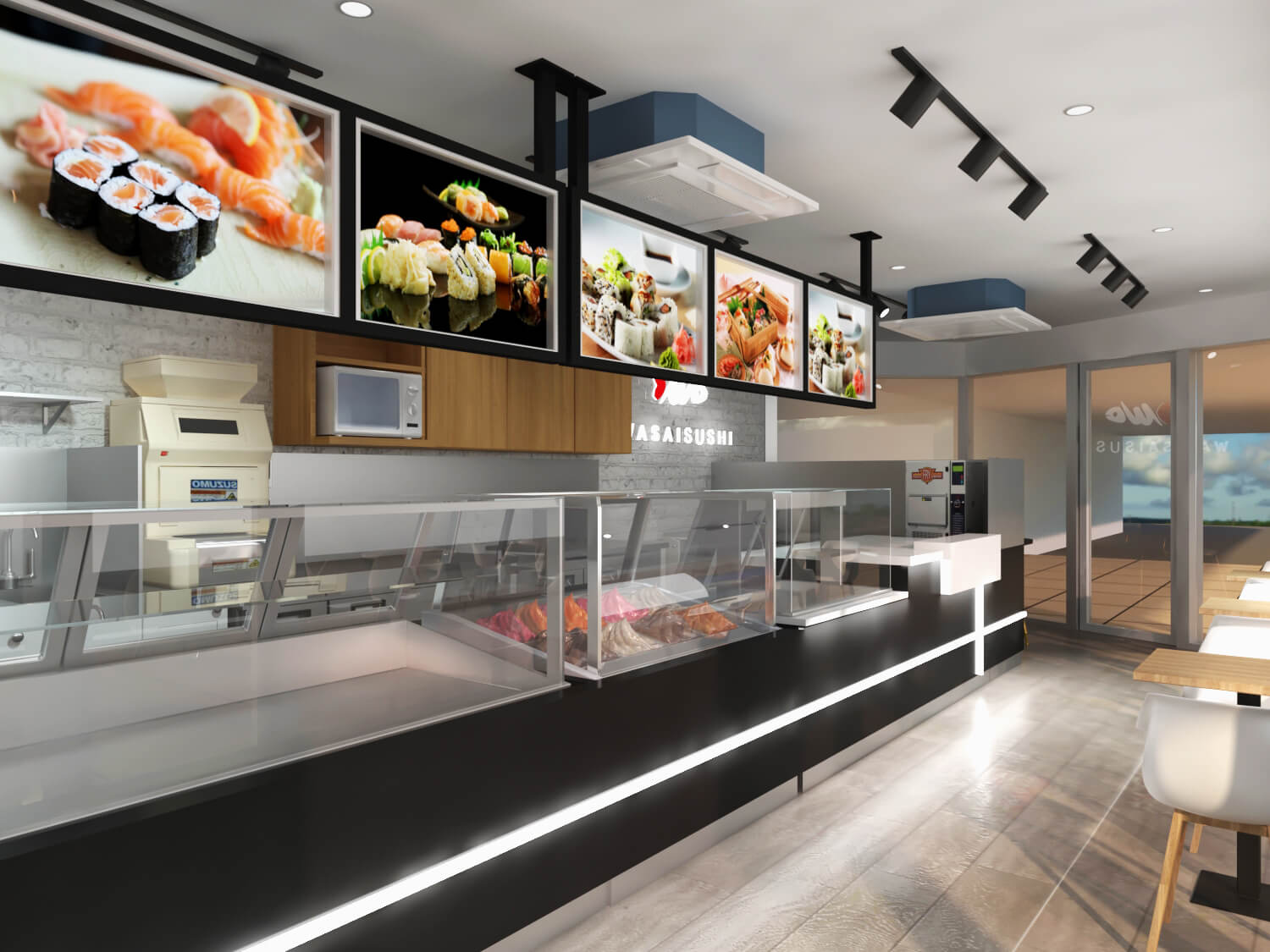 Australia Sushi Store 3D Design & Bar Counter Working Bench in Resturant