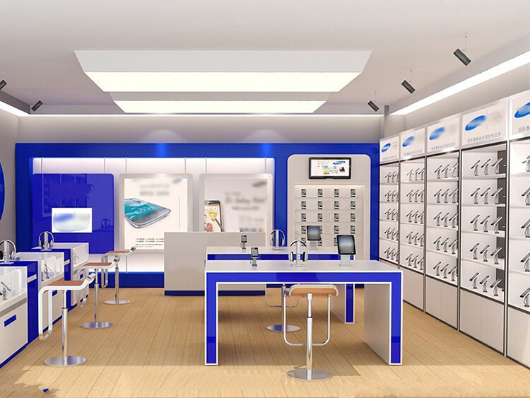 Phone Store Interior 3d Design for Shop Fixture & Phone Display Table Wall Display Counter for Sale