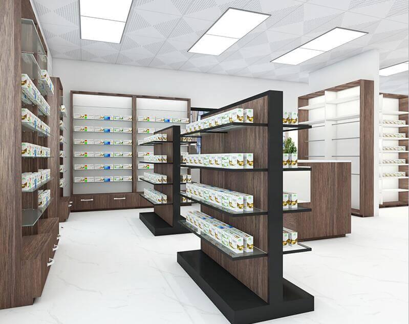 pharmacy retail shelves design