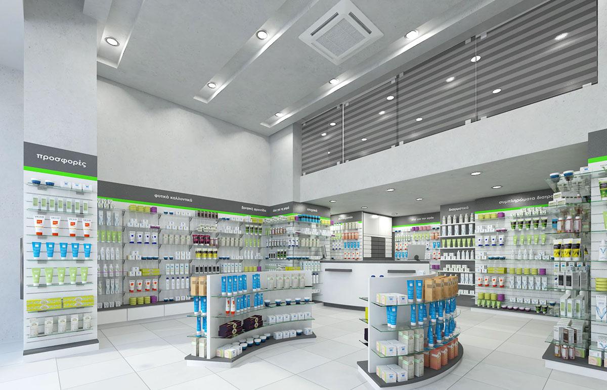 Pharmacy interior design, drugstore design