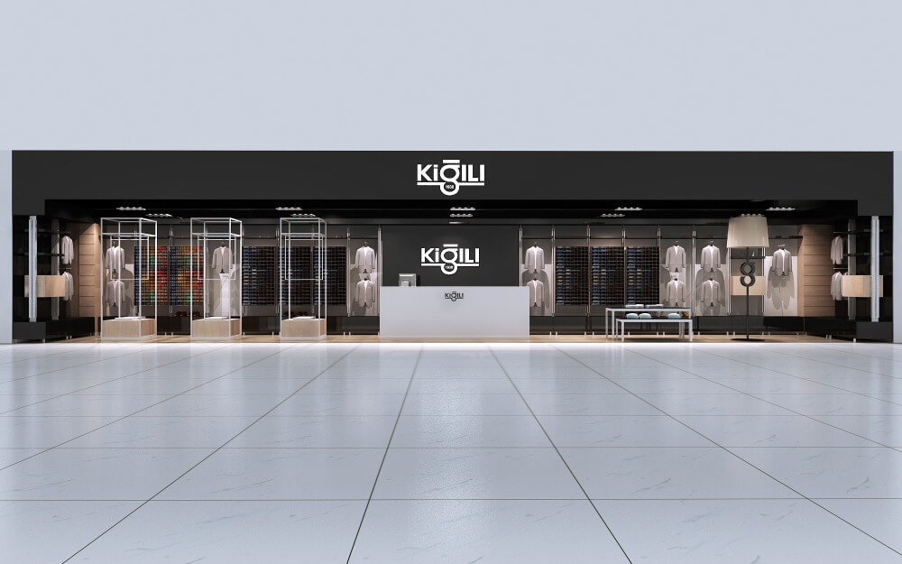 A Clothing Interior Store Design for Unique Display Stand Suits Display Rack in Retail Store
