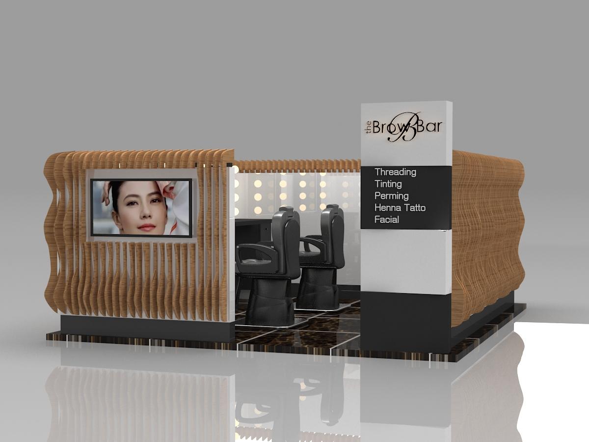 eyebrow threading kiosk design