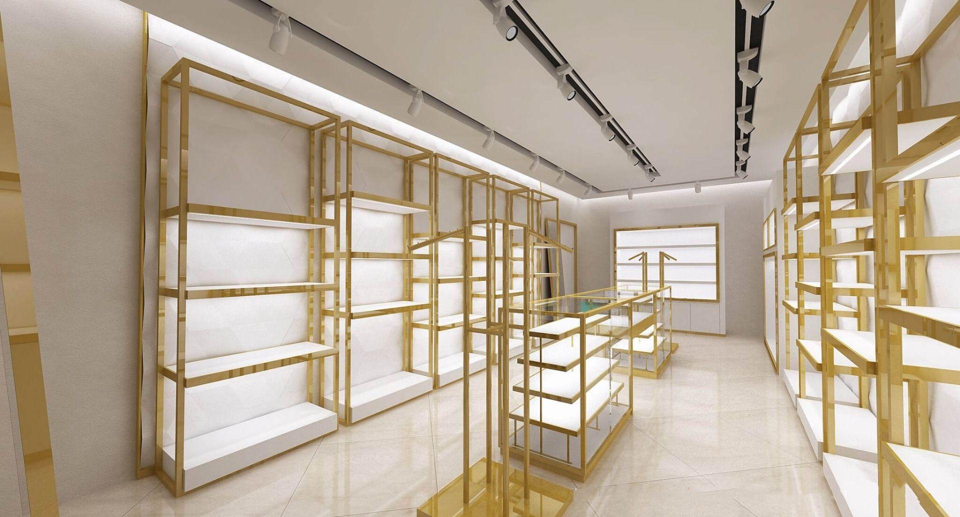 golden display rack