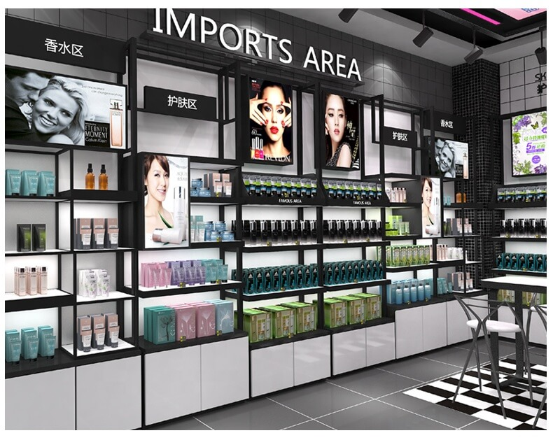 Cosmetic Store Interior Decoration & Shop Fixture for Display Rack in Retail Store