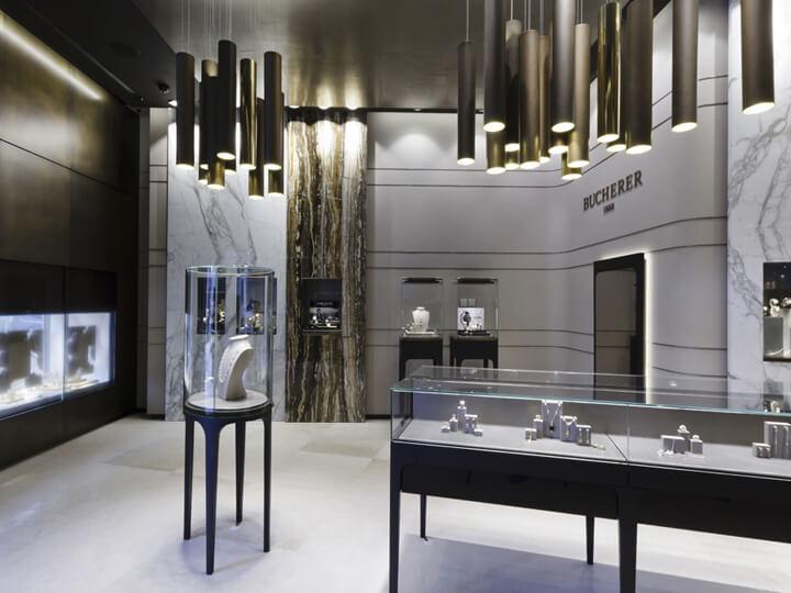 silvery jewelry displays