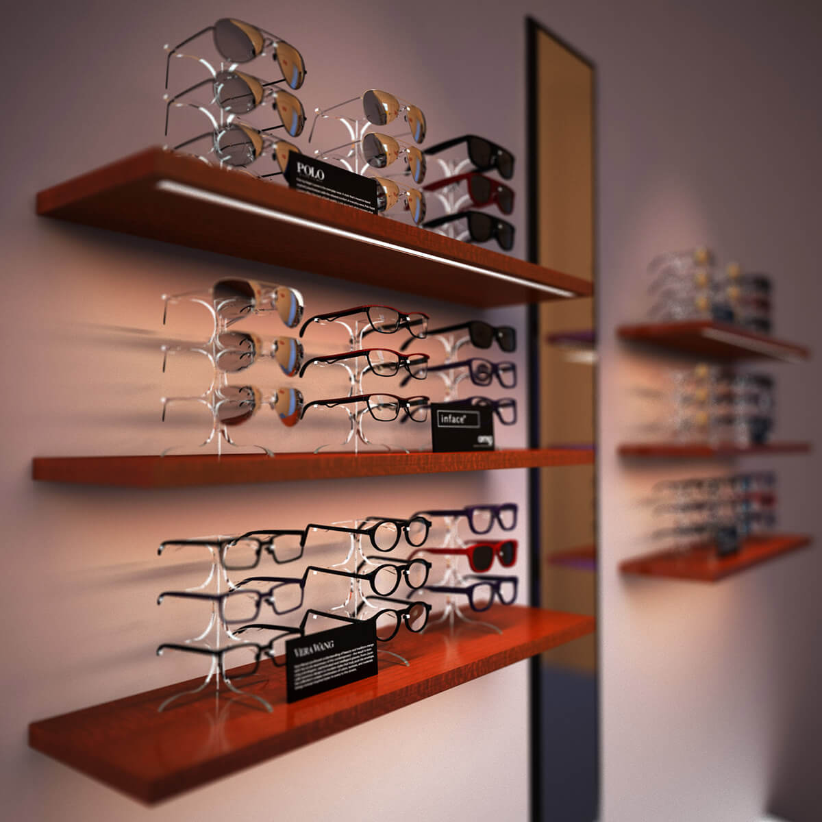 optical displays wall racks