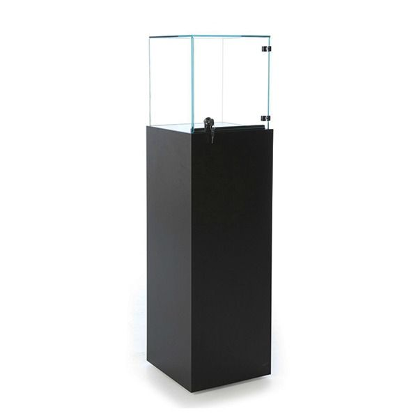 Black Pedestal Display Case For Jewelry & Watch