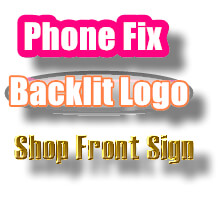 cell phone store backlit sign