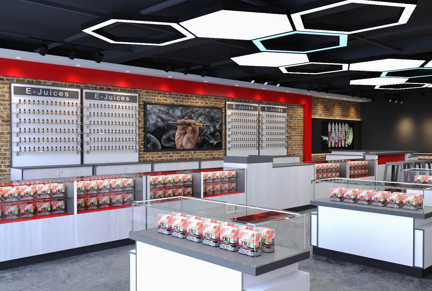 e-cigarette shop cabinet