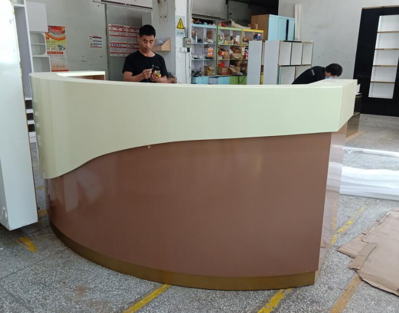 reception desk front side