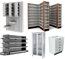 pharmacy cabinet,stands, counters & shelving